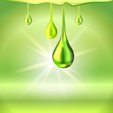 Green oil drops shiny sparkles Illustration