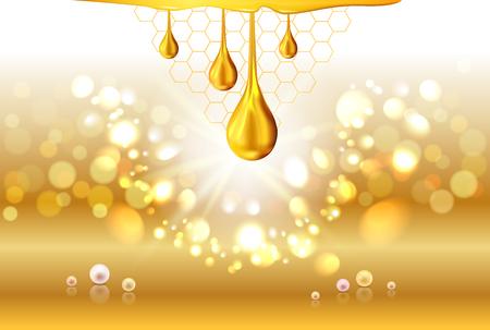 Golden oil drops shiny sparkles