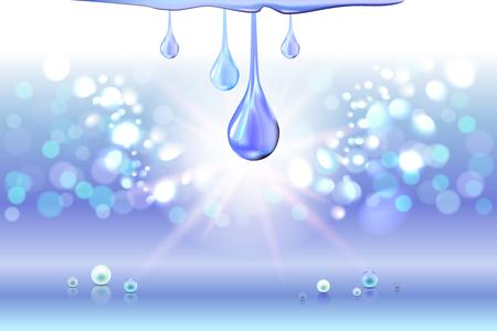Blue oil drops shiny sparkles Illustration