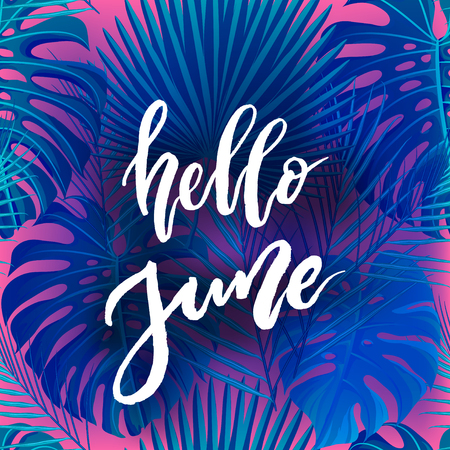 Hello June brush lettering.