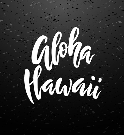 Aloha Hawaii brush lettering. Vocation cards, banners, posters design. Handwritten modern brush pen chalk blackboard calligraphy. Vector illustration stock vector.