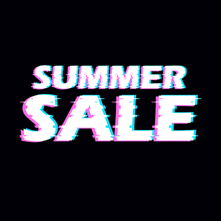 special effects: Sign summer sale with distorted glitch effect.