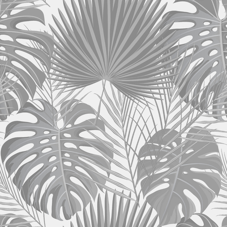 banana: Seamless pattern with grayscale tropical exotic palm leaves