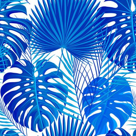 Een naadloos patroon met blauwe witte gekleurde tropische exotische palmbladenachtergrond. Stof, inpakpapier afdrukken. Vector illustratie voorraad vector.