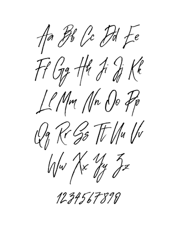 Handwritten brush style modern cursive font isolated on white background. Textured handletterered latin font letters and numbers Vector illustration stock vector.