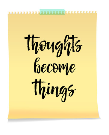 Thoughts Become Things card isolated on white