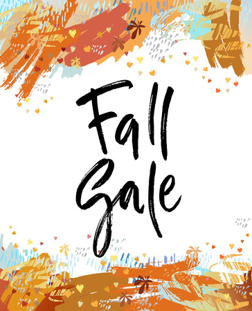 Fall sale brush lettering. For greeting cards, banners, autumn season phrase for posters design. Handwritten modern brush pen calligraphy and autumn leaves background.