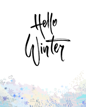 Hello winter brush lettering calligraphy. Handwritten text for cards, invitations, templates with blue snowflake design. Vector illustration stock vector.