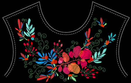 Ethnic embroidery leaves branches floral design for neckline. Fashion satin stitch stitches ornament on black for textile, fabric traditional folk decoration. Vector illustration stock vector. Stock fotó - 112267187