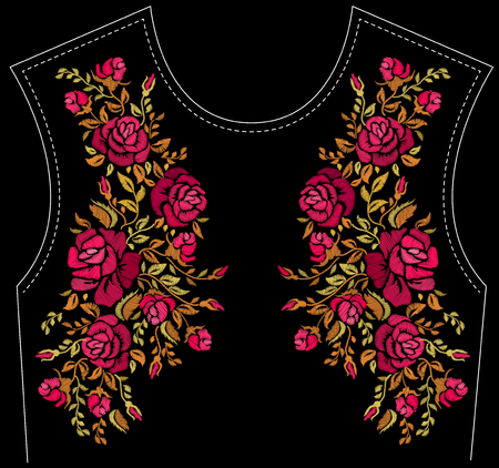 Ethnic embroidery rose flowers floral design for neckline. Fashion satin stitch stitches ornament on black for textile, fabric traditional folk decoration. Vector illustration stock vector.