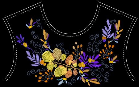 Ethnic embroidery leaves branches floral design for neckline. Fashion satin stitch stitches ornament on black for textile, fabric traditional folk decoration. Vector illustration stock vector. Stock fotó - 112267191