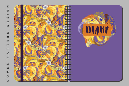 Notebook and diary cover design for print with seamls pattern included. For copybooks brochures and school. Vector illustration stock vector. 向量圖像
