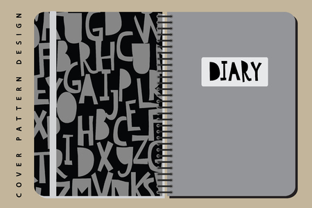 Notebook and diary cover design for print with seamls pattern on clipping mask included. For copybooks brochures and school. Vector illustration stock vector. 向量圖像