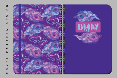 Notebook and diary cover design for print with seamls pattern included. For copybooks brochures and school. Vector illustration stock vector.