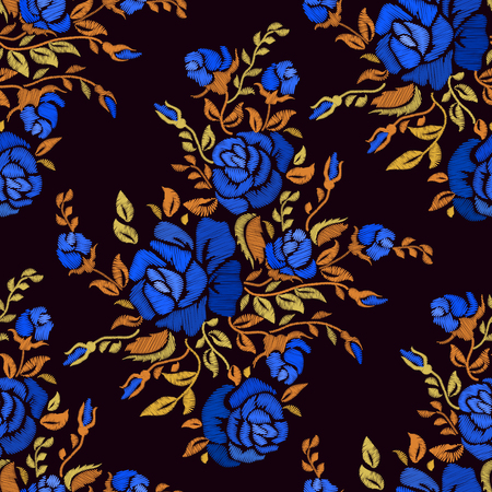 Ethnic embroidery blue rose flowers floral seamless pattern design. Fashion satin stitch stitches ornament on black for textile, fabric traditional folk decoration. Vector illustration stock vector.