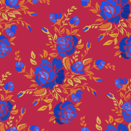 Ethnic embroidery blue rose flowers floral seamless pattern design. Fashion satin stitch stitches ornament on rad for textile, fabric traditional folk decoration. Vector illustration stock vector.