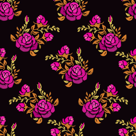 Ethnic embroidery red rose flowers floral seamless pattern design. Fashion satin stitch stitches ornament on black for textile, fabric traditional folk decoration. Vector illustration stock vector. Stock fotó - 112267204