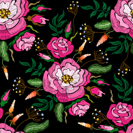 Ethnic embroidery red rose flowers floral seamless pattern design. Fashion satin stitch stitches ornament on black for textile, fabric traditional folk decoration. Vector illustration stock vector.