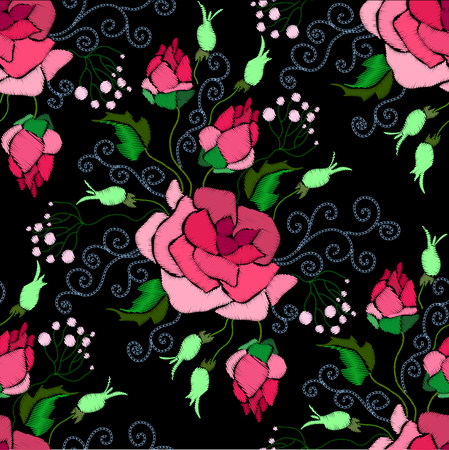 Ethnic embroidery red flowers floral seamless pattern design. Fashion satin stitch stitches ornament on black for textile, fabric traditional folk decoration. Vector illustration stock vector. Ilustracja