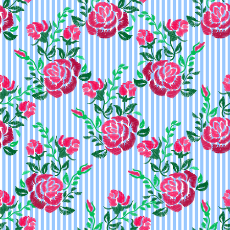 Ethnic embroidery pink red rose flowers floral seamless pattern design. Fashion satin stitch stitches ornament on blue striped for textile, fabric traditional folk decoration. Vector illustration stock vector. Illusztráció