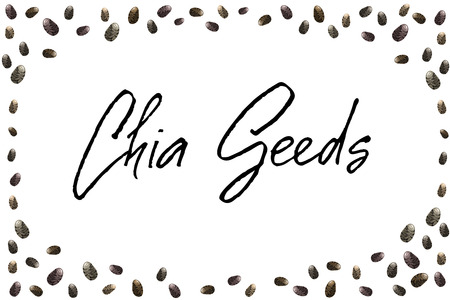 Chia seeds hand drawn black white lettering note or message with seeds border frame. Background for package design or organic food or yogurt. Vector illustration stock vector.