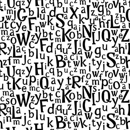 Abc or alphabet seamless pattern. Hand drawn letters dark, black white hand cutted cups uppercase letters Kids Scandinavian design Vector illustration stock vector. Ilustração