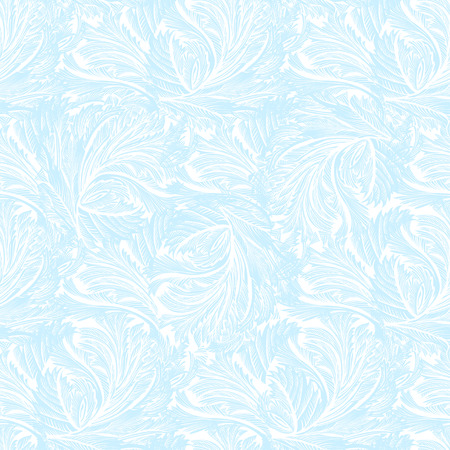Winter light blue frozen glass seamless pattern background. For winter printable design. Cyan frost pattern with cold winter ice ornament, hoarfrost texture decor background. Vector illustration.