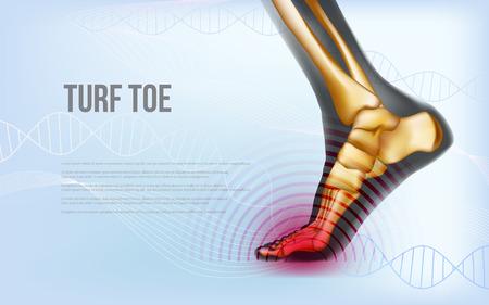 Banner horizontal de traumatismos en el pie del dedo del pie del césped