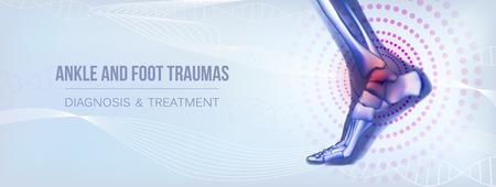 Bannière horizontale sur les traumatismes de la cheville et du pied pour les médias sociaux