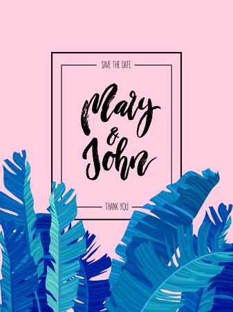 Tropical design with blue exotic palm leaves on rose style background and wedding save date invitation. bottom border. Vector illustration stock vector. Ilustração