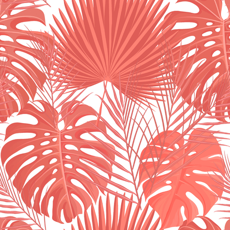 Trendy 2019 year color background. Living coral tropical leaves seamless pattern. Texture for cards, hand drawn stroks backdrop invitations, posters, cards. Vector illustration stock vector.