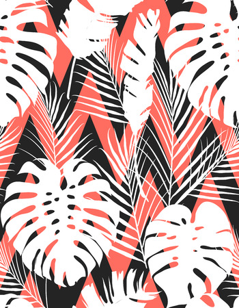 Living coral tropical leaves seamless pattern. Trendy 2019 year color background texture for cards, hand drawn stroks backdrop invitations, posters, cards. Vector illustration stock vector. Ilustração