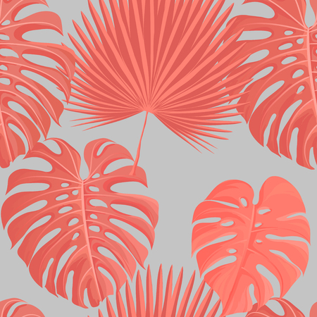 Living coral color tropical leaves seamless pattern. Trendy 2019 year color background texture for cards, hand drawn stroks backdrop invitations, posters, cards. Vector illustration stock vector. Ilustração