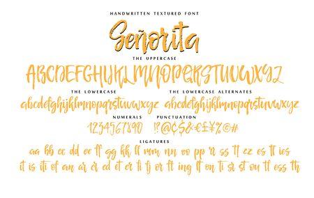 Handwritten script font vector alphabet Senorita set Ilustração
