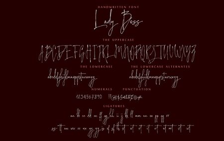 Handwritten script font vector alphabet Lady Boss set