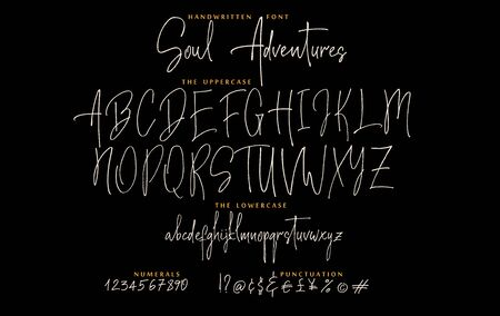 Hand drawn Soul adventures font vector alphabet set Imagens - 143340244