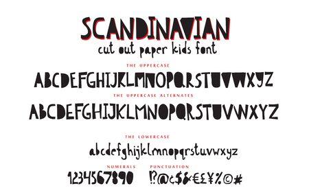 Hand drawn kids display font vector alphabet set