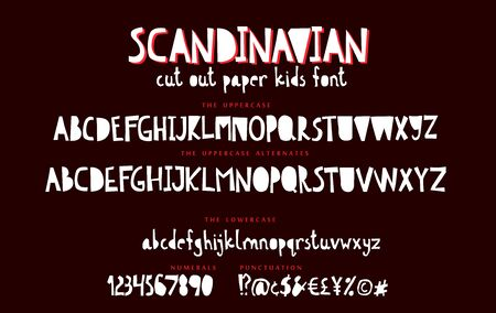 Kids hand drawn display font vector alphabet set