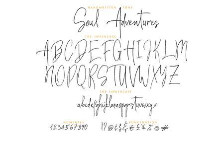 Hand drawn Soul adventures font vector alphabet set Imagens - 143340255