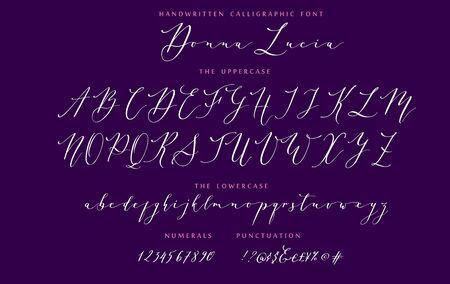 Hand drawn callygraphic font vector alphabet set Imagens - 143340257