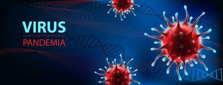 Common human epidemia, pandemia coronavirus banner for awareness alert disease spread, symptoms or precautions. Horizontal social media banner virus infected microscopic view design stock vector.