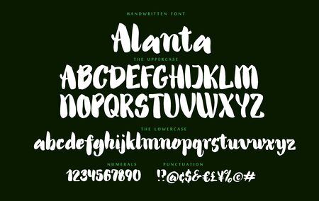 Hand drawn Alanta script font set with uppercase and lowercase letters numbers and punctuation on dark background. Alphabet abc signs. Letter stock vector illustration typography typeset. Ilustração