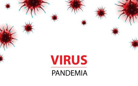 Horizontal social media banner epidemia coronavirus virus for awareness alert disease spread, symptoms or precautions. Corona virus infected microscopic view design stock vector illustration Ilustração