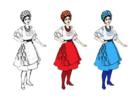 Set cartoon beautiful girl national traditional clothes, black white, colorful embroidery shirt, dress red blue skirt, circlet of flowers. Ukrainian or russian, belarusian woman isolated stock vector Imagens - 149793342