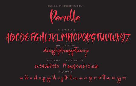 Handwritten script font sister Pamella vector alphabet set