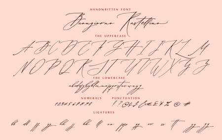 Handwritten script calligraphy cursive font Buongiorno Rastellino Italian hello Rastellino vector alphabet set