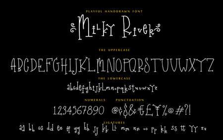 Handwritten playful script font Milky River vector alphabet set
