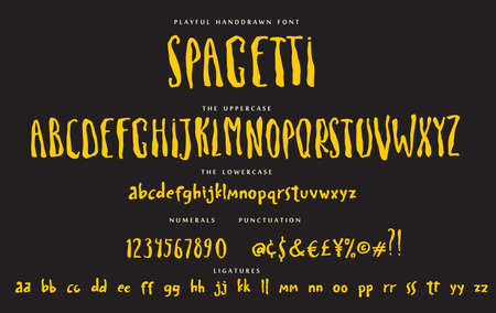 Handwritten script playful font Spagetti vector alphabet set