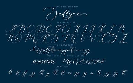 Handwritten script cursive calligraphy playful font Sadlyne vector alphabet set