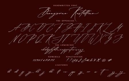 Handwritten script cursive calligraphy font Buongiorno Italian hello Rastellino vector alphabet set